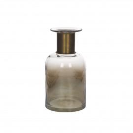 VAIA - vaas met koperen ring - glas - amber - S - Ø12x22,5 cm