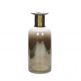VAIA - vaas met koperen ring - glas - amber - M - Ø12x30 cm
