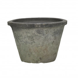 DAMUST - flower pot with moss - terra cotta - blackstone - M - 15x10 cm