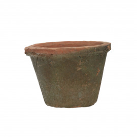 DAMUST - flower pot with moss - earthenware - DIA 10 x H 7 cm - red