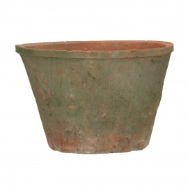 DAMUST - flower pot with moss - earthenware - DIA 24 x H 14,5 cm - red