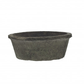 HIZOU - flower pot with moss - earthenware - DIA 20 x H 7 cm - anthracite