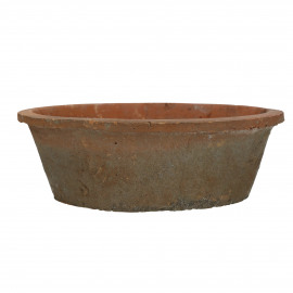 HIZOU - flower pot with moss - earthenware - DIA 30 x H 10 cm - red