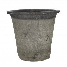 DAMOSIS - flower pot with moss - earthenware - DIA 25 x H 23 cm - anthracite