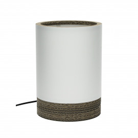 FELICE - table lamp cylinder - recycled cardboard / cotton - white - 18x18x20