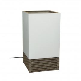 FELICE - tafel lamp vierkant - gerecycleerd karton/ katoen - wit - 20x20x28