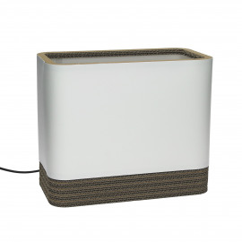 FELICE - table lamp rectangle - recycled cardboard / cotton - white - 30x16x20