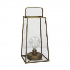 LONE  - lantaarn m/ledlicht  - metal - L 17 x W 17 x H 37 cm - copper