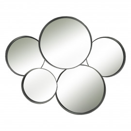 SQUAR - ronde spiegels 5 stuks - metaal - zwart - 76x60x11 cm