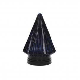 TRI - x-mas tree with light - glass - DIA 12 x H 17,5 cm - dark blue