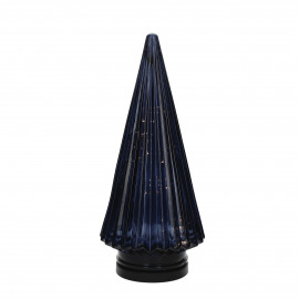 TRI - x-mas tree with light - glass - DIA 12,5 x H 28 cm - dark blue
