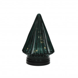 TRI - x-mas tree with light - glass - DIA 12 x H 17,5 cm - green