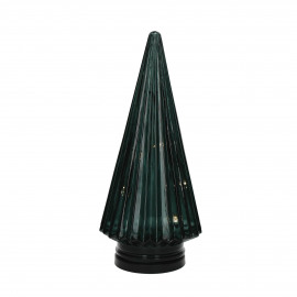 TRI - x-mas tree with light - glass - DIA 12,5 x H 28 cm - green