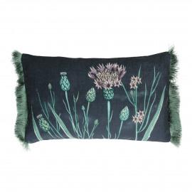 STIEN - kussen bloemen - velvet - paars - 30x50 cm