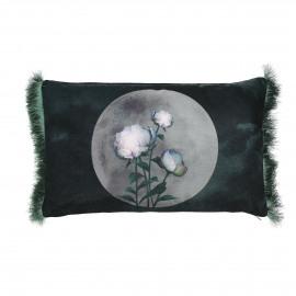 STIEN - coussin fleur - velours - violet - 30x50 cm