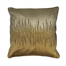 RICHE - deco kussen - katoen velours - groen goud - 45x45 cm