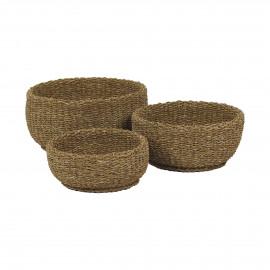 SEGIRA - set/3 baskets - seagrass - DIA 50/42/34 x H 24/20/16 cm - natural