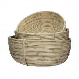 SPIROU - set/3 baskets - cane - DIA 36/32/28 x H 16/14/12 cm - natural