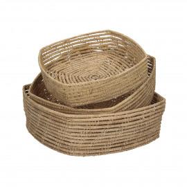 PALMYRE - set/3 baskets - palm leaf - L 26/23/20 x W 26/23/20 x H 9/7/5 cm - natural