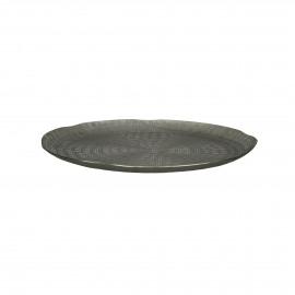 CABEB  - assiette déco  - métal - DIA 30 x H 2 cm - Argent
