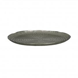 CABEB  - assiette déco  - métal - DIA 36 x H 2 cm - Argent