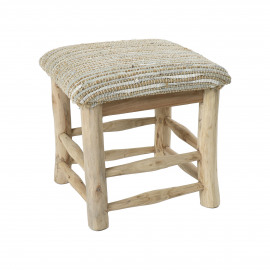 SPIKE - stool - jute / leather - L 40 x W 40 x H 40 cm - natural