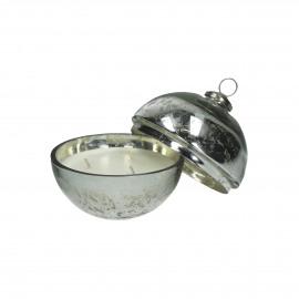 MATEO - boule de noël - verre - argent - M - Ø13x15 cm