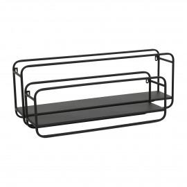 ZEN - set/2 wall rack - iron - L 77/61 x W 15,5/15,5 x H 28/21 cm - Black
