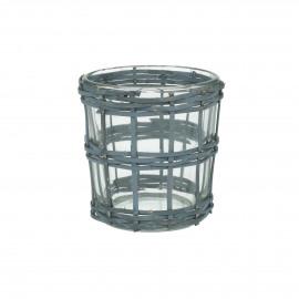 VALENT - photophore - verre / rotin - DIA 7 x H 7 cm - Noir