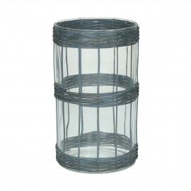 VALENT - windlicht - glas / rotan - DIA 12 x H 20 cm - zwart