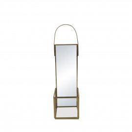 ZIVAGO - spiegel/kandelaar - glas / metaal - L 9 x W 9 x H 33 cm - goud
