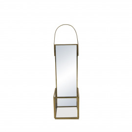 ZIVAGO - miroir/bougeoir - verre / métal - L 9 x W 9 x H 33 cm - or
