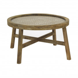 SARASTRO - coffee table - mango wood / glass - DIA 55 x H 32 cm - natural