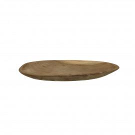 ALGARVE - assiette ovale - teck - L 25 x W 15 x H 2 cm - Naturel