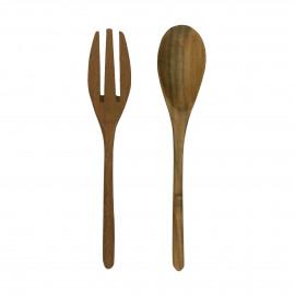 ALGARVE - set/2 spoon + fork - teak - L 19 cm - natural