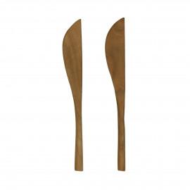 ALGARVE - set/2 butter Knife - teak - L 15 cm - natural