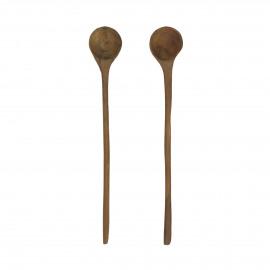 ALGARVE - set/2 spoons - teak - L 20 cm - natural