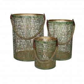 RAJA - set/3 lanterns - iron / jute - DIA 15/20/26 x H 20/30/35 cm - green