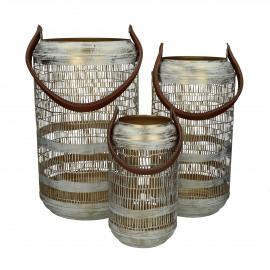 MADRAS - set/3 lanterns - iron / leather - DIA 15/20/26 x H 27/38/42 cm - white