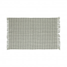 CHECKS & STRIPES - set/4 placemats - cotton - L 33 x W 48 cm - Natural/Black