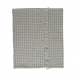 CHECKS & STRIPES - runner - cotton - L 150 x W 50 cm - natural/black