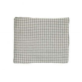 CHECKS & STRIPES - table cloth - cotton - L 160 x W 160 cm - natural/black
