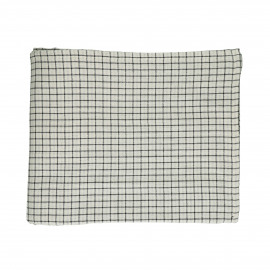 CHECKS & STRIPES - table cloth - cotton - L 250 x W 160 cm - Natural/Black