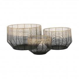ZANZI - set/3 paniers - métal - DIA 25/33/42 x H 18/22/26 cm - noir