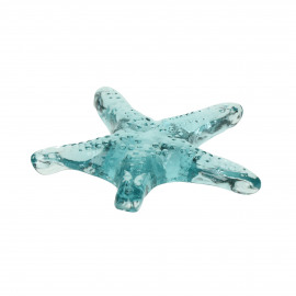 ESTRELLA - étoile de mer déco - verre - L 15 x W 15 x H 2 cm - aqua