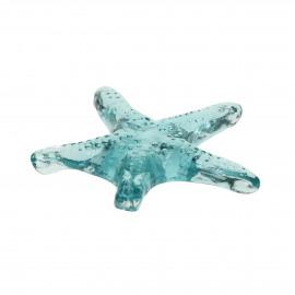 ESTRELLA - deco starfish - glass - L 15 x W 15 x H 2 cm - aqua