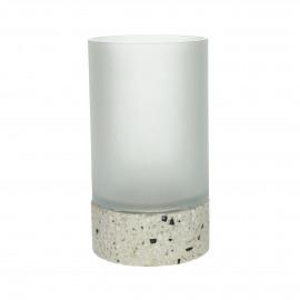 TAGLIO - photophore - verre / ciment - DIA 15 x H 24 cm - beige