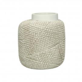 AGADIR - vase - polyresin - L 16,5 x W 15,5 x H 18,5 cm - white