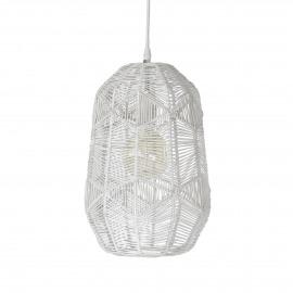 SIKSAK - hanglamp - metaal / rotan - DIA 24 x H 40 cm - wit
