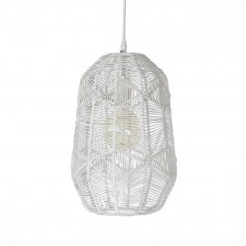 SIKSAK - hanging lamp - metal / rattan - DIA 24 x H 40 cm - white